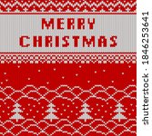 christmas and new year knitted...   Shutterstock .eps vector #1846253641