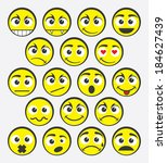 vector set of emoticons | Shutterstock .eps vector #184627439