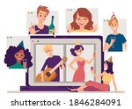 virtual party banner with... | Shutterstock .eps vector #1846284091