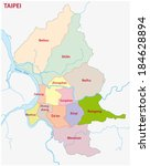 taipei administrative map | Shutterstock .eps vector #184628894