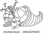 outlined horn of plenty.... | Shutterstock .eps vector #1846329604