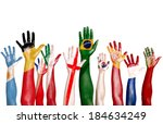 Diverse Hands Painted With...