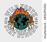 tigers around burning globe...   Shutterstock .eps vector #1846393201
