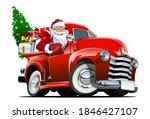 Cartoon Christmas Pickup With...