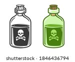 hand drawn glass bottle with...   Shutterstock .eps vector #1846436794