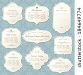 vintage frame set on damask... | Shutterstock .eps vector #184649774