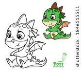 cute cartoon soft toy green... | Shutterstock .eps vector #1846515511