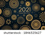 golden fireworks 2021 new year... | Shutterstock .eps vector #1846525627