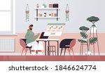 man choosing goods on laptop... | Shutterstock .eps vector #1846624774