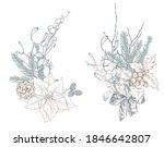 vector christmas floral... | Shutterstock .eps vector #1846642807