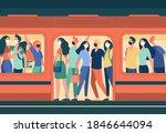 crowd of people in masks... | Shutterstock .eps vector #1846644094