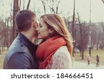 young happy couple hugging in... | Shutterstock . vector #184666451