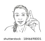 woman pointing finger up ... | Shutterstock .eps vector #1846698001
