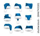 realistic set of blue santa... | Shutterstock .eps vector #1846743181