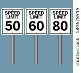 speed limit white road sign | Shutterstock .eps vector #184678919