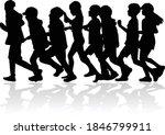 children silhouettes running. ... | Shutterstock .eps vector #1846799911