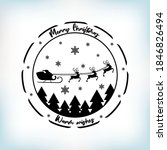 santa's sleigh and reindeers... | Shutterstock .eps vector #1846826494