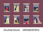 people in window frames.stay...   Shutterstock .eps vector #1846830301