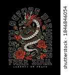 asian dragon with roses with a... | Shutterstock .eps vector #1846846054