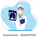 medical doctor looking at x ray ... | Shutterstock .eps vector #1846855594