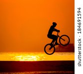 bmx rider action against sunset ... | Shutterstock . vector #184691594