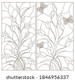 set of contour illustrations in ... | Shutterstock .eps vector #1846956337