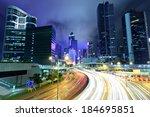 fast moving traffic in hong... | Shutterstock . vector #184695851