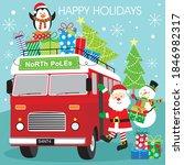 Christmas Car And Santa And...