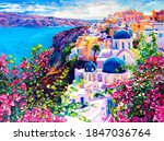 Oil Painting. Santorini...