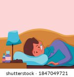 sick child with fever with... | Shutterstock .eps vector #1847049721