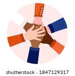 diversity hands in circle  ... | Shutterstock .eps vector #1847129317