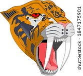 metal head of tiger saber tooth ... | Shutterstock .eps vector #1847175901