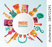 colorful music background. | Shutterstock .eps vector #184721291