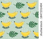 fresh bananas  palm leaves ...   Shutterstock .eps vector #1847231404