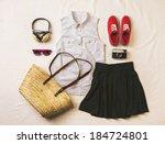overhead of essentials vintage... | Shutterstock . vector #184724801