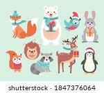 christmas cute woodland animals ... | Shutterstock .eps vector #1847376064