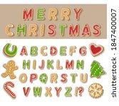 christmas alphabet from cookies.... | Shutterstock .eps vector #1847400007