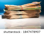 Colorful Banknotes. Pile of Cash Money Business and Economy Theme. Euro Bills on Glassy Office Table.  - stock photo
