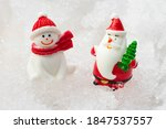 santa claus and snowman on snow ... | Shutterstock . vector #1847537557