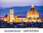 Florence, Italy - The Cathedral and the Brunelleschi Dome at sunset - stock photo