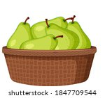 green pears in the basket... | Shutterstock .eps vector #1847709544