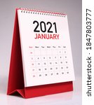 Small photo of Simple desk calendar for January 2021