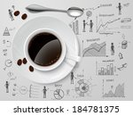 Coffee cup and spoon on business progress idea investment option sketch poster vector illustration - stock vector