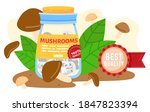 mushroom farm canned food... | Shutterstock .eps vector #1847823394