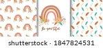 floral rainbow seamless pattern ... | Shutterstock .eps vector #1847824531