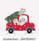 cute happy kitten cat with... | Shutterstock .eps vector #1847835427