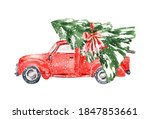 Watercolor Red Christmas Truck...