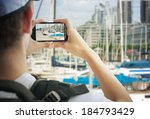 tourist taking photos  with... | Shutterstock . vector #184793429