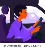 a girl driver sitting in a car. ... | Shutterstock .eps vector #1847953747