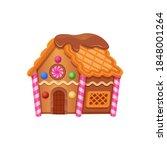 gingerbread house cartoon... | Shutterstock .eps vector #1848001264